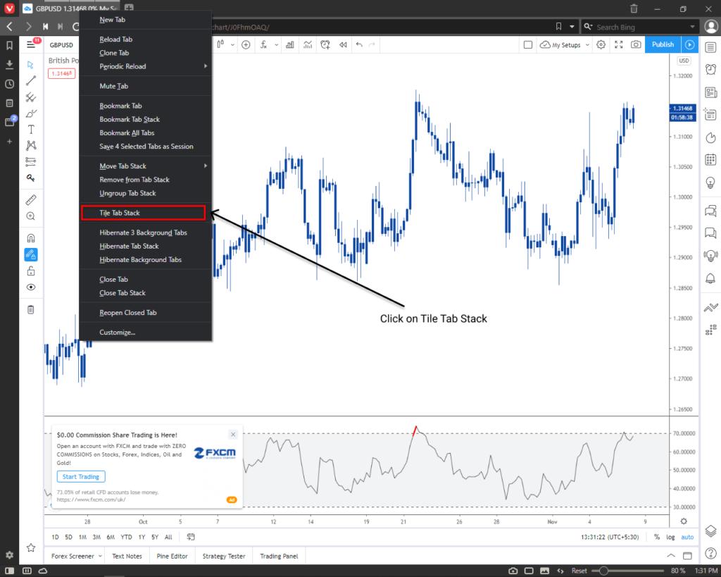 Forex chart mutiple chart in one window